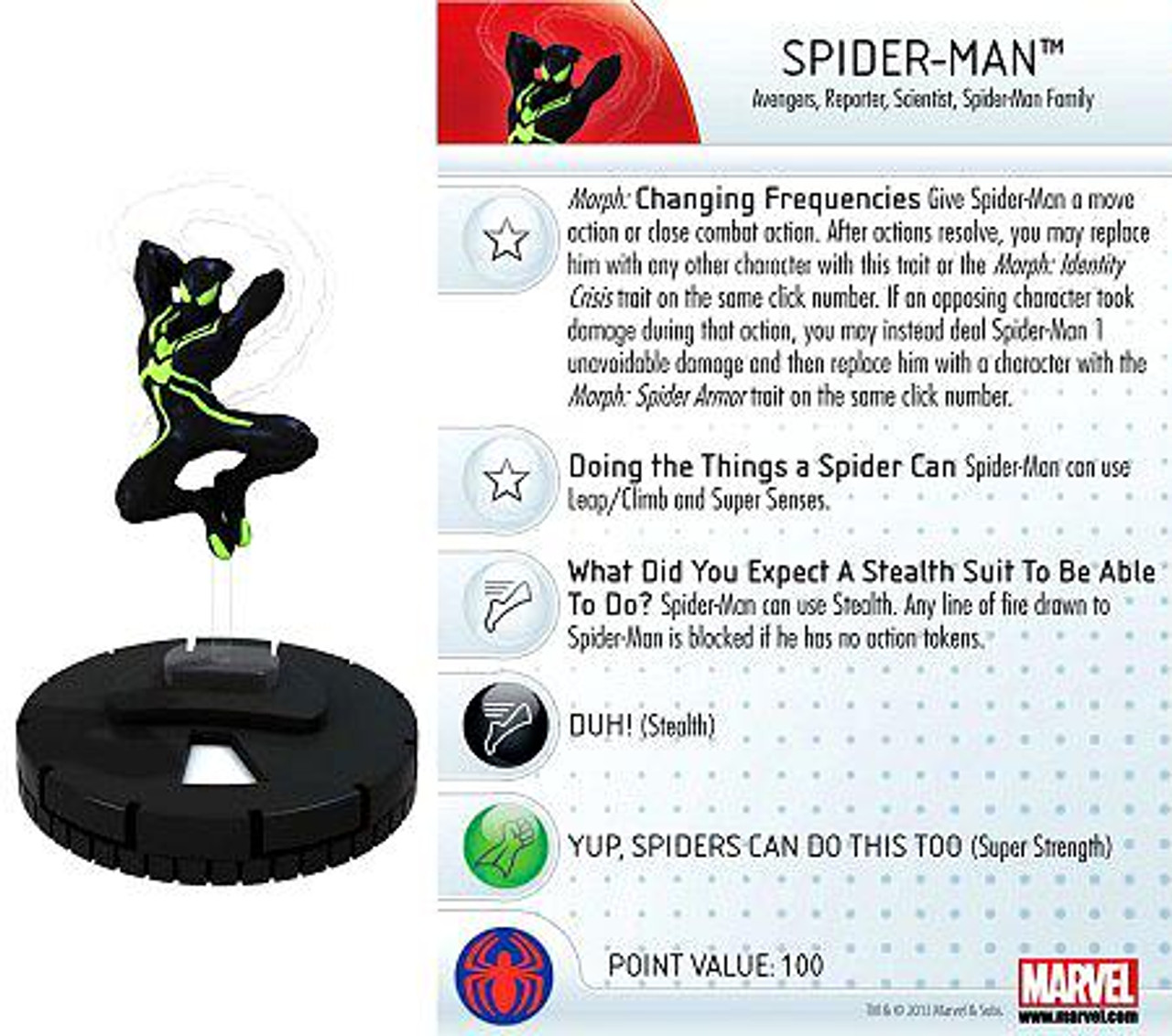 Marvel HeroClix Amazing Spider-Man Common Spider-Man #001a