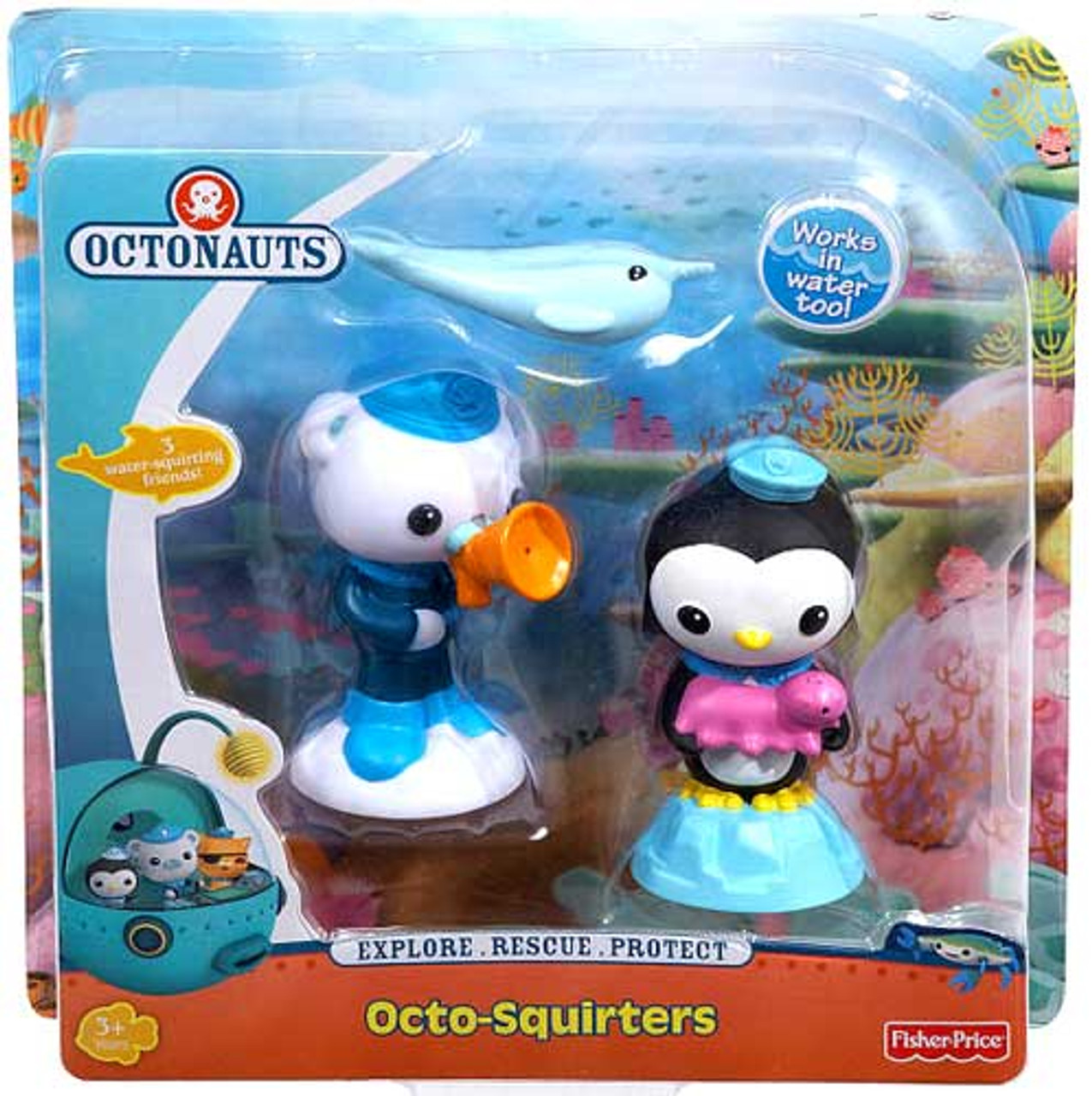 Fisher Price Octonauts Octo-Squirters Narwhal, Peso & Barnacles Figure 2-Pack