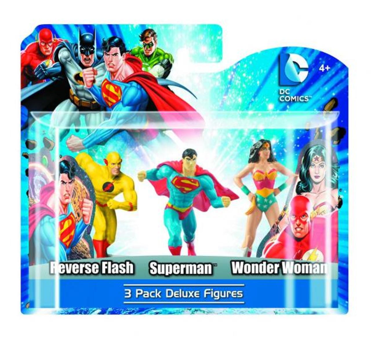 DC Heroes Reverse Flash, Superman & Wonder Woman 4-Inch PVC Figure 3-Pack