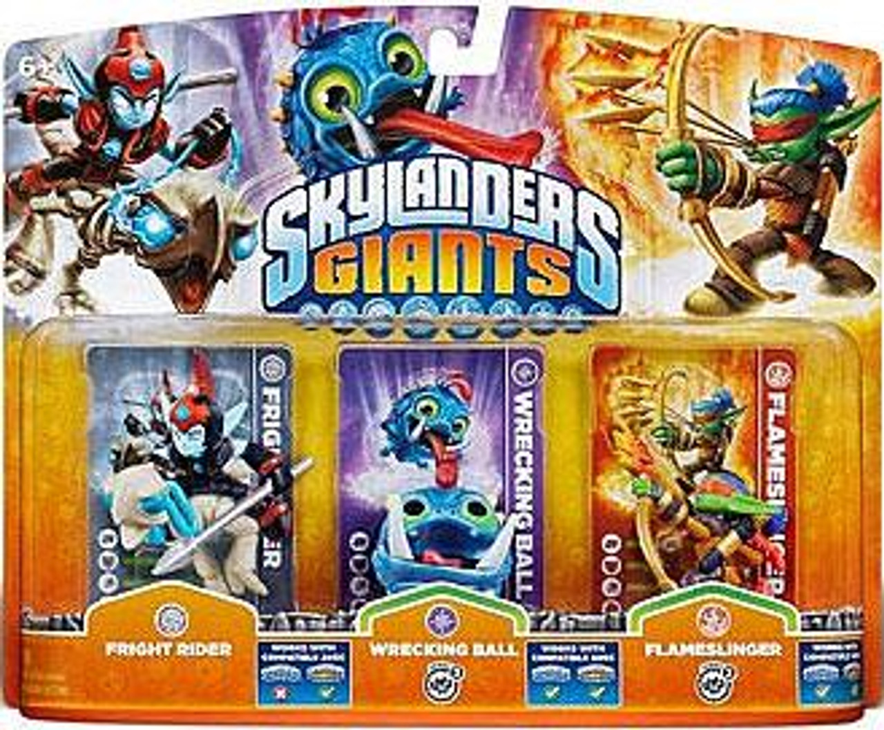 Skylanders Giants Fright Rider, Wrecking Ball & Flameslinger Figure 3-Pack