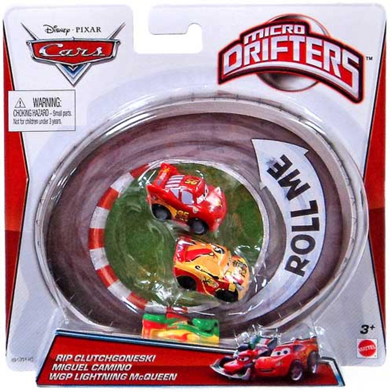 Disney Cars Micro Drifters Rip Clutchgoneski, Miguel Camino & WGP Lightning McQueen Mini Cars