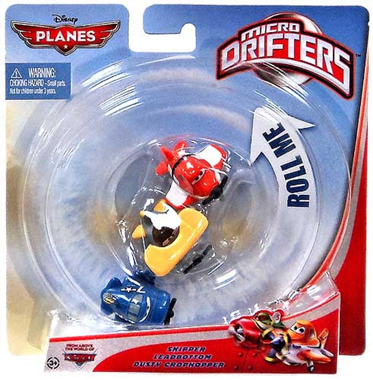 Disney Planes Micro Drifters Skipper, Leadbottom & Dusty Crophopper Vehicle 3-Pack