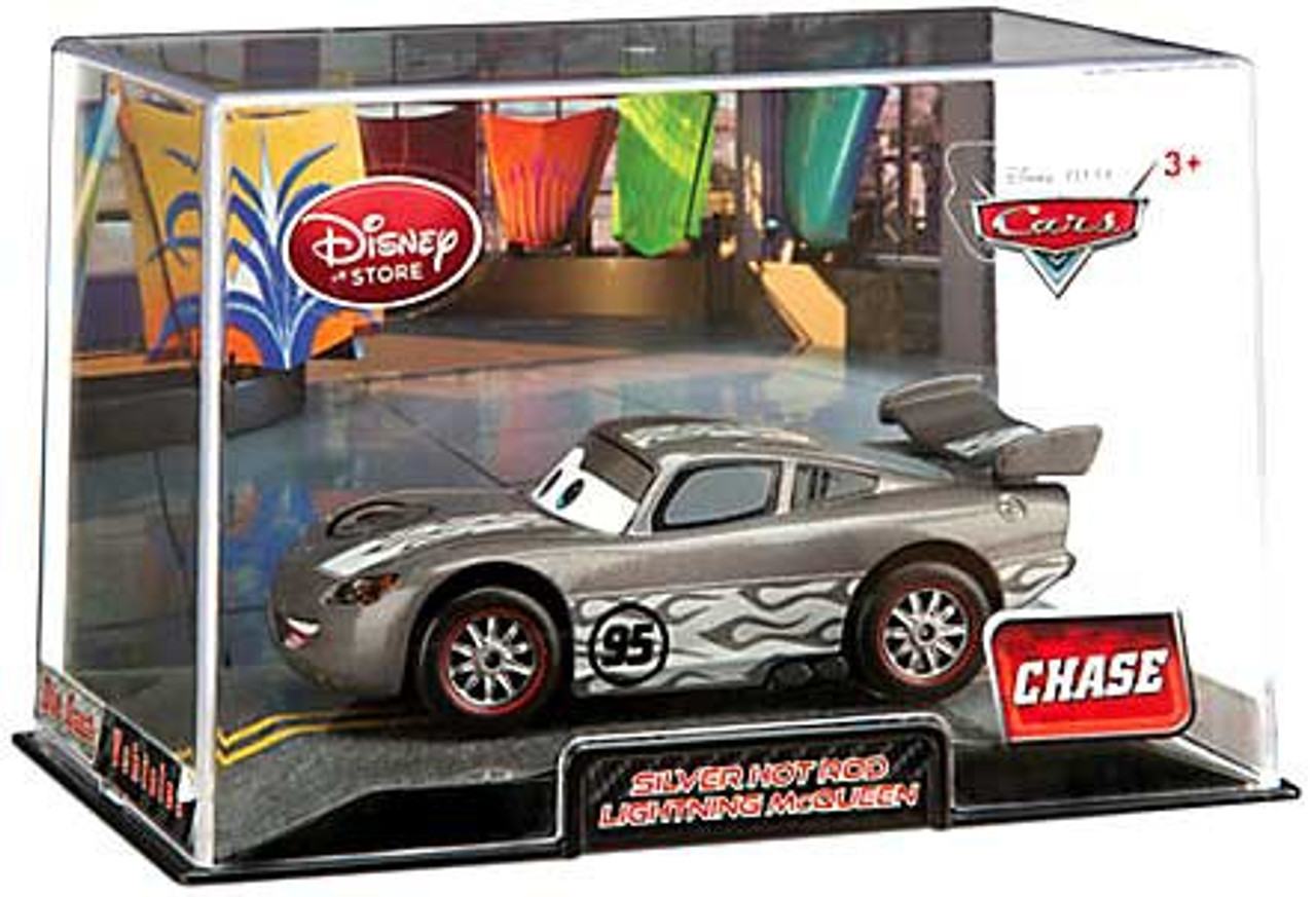 Disney Cars 1:43 Collectors Case Silver Hot Rod Lightning McQueen Exclusive Diecast Car