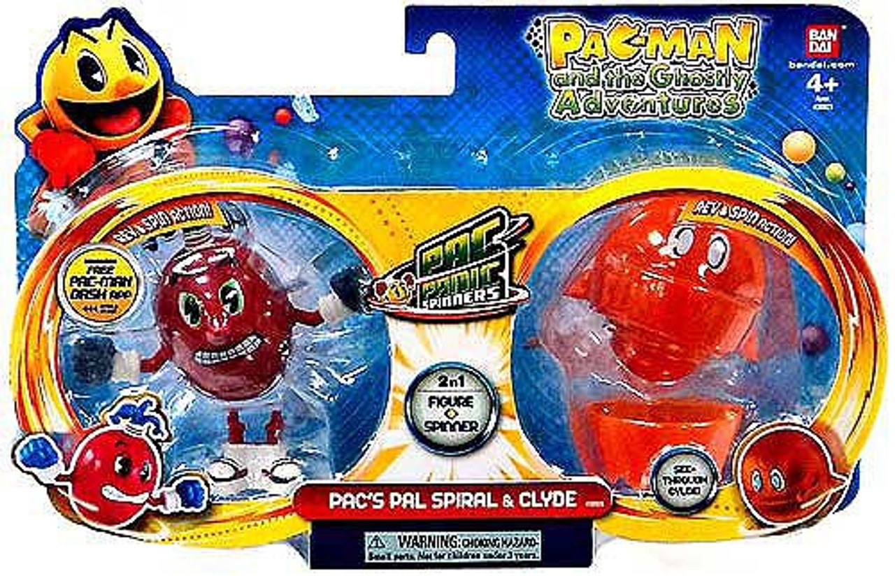 Pac Man Pac Panic Battle Spinners Pac's Pal Spiral & Clyde Figure 2-Pack