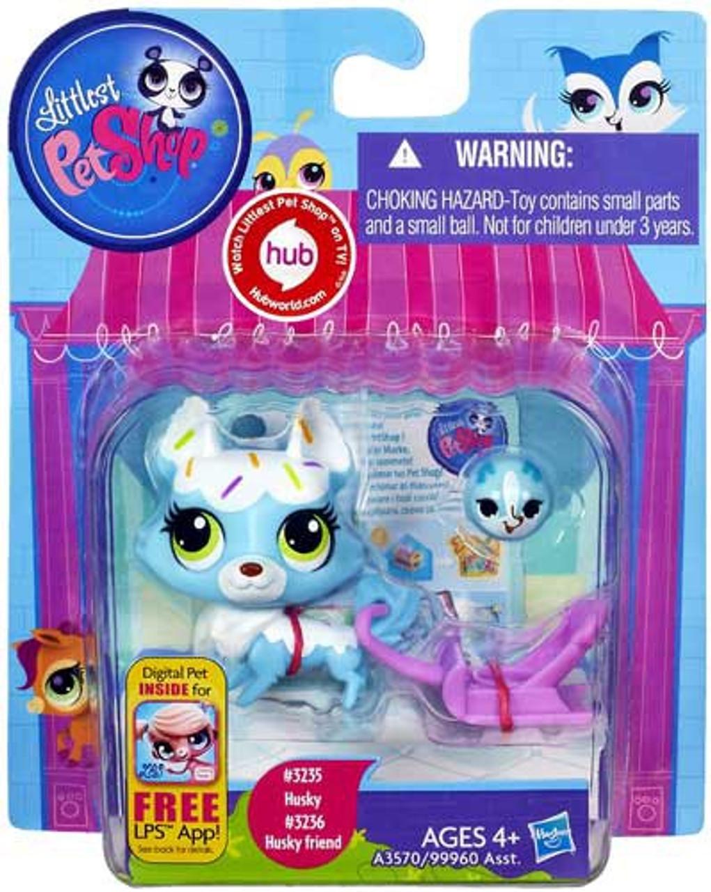Littlest Pet Shop Husky & Husky Friend Figure 2-Pack #3235, 3236 [Blue]