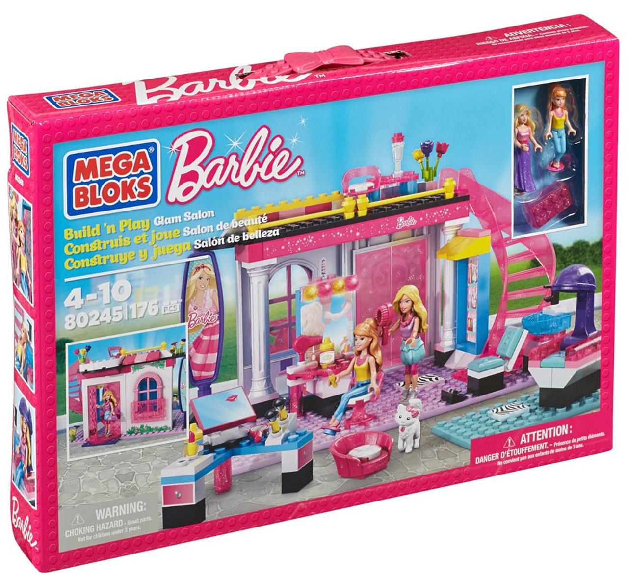 Mega Bloks Barbie Build n Play Glam Salon Set 80245 - ToyWiz