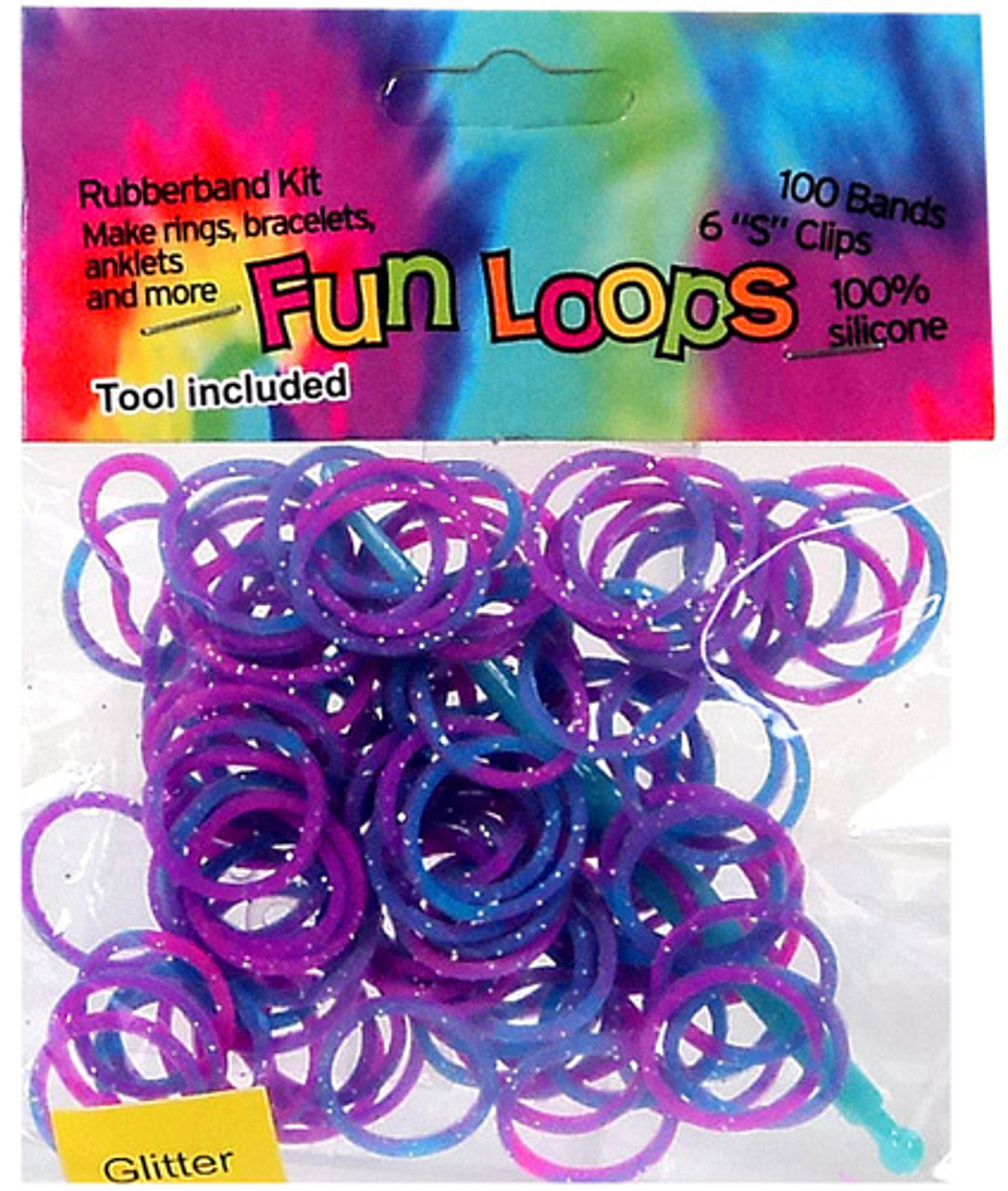 Rubber Band Bracelets Fun Loops Pink & Blue Tie Dye Glitter Rubber Bands Refill Pack [100 ct]