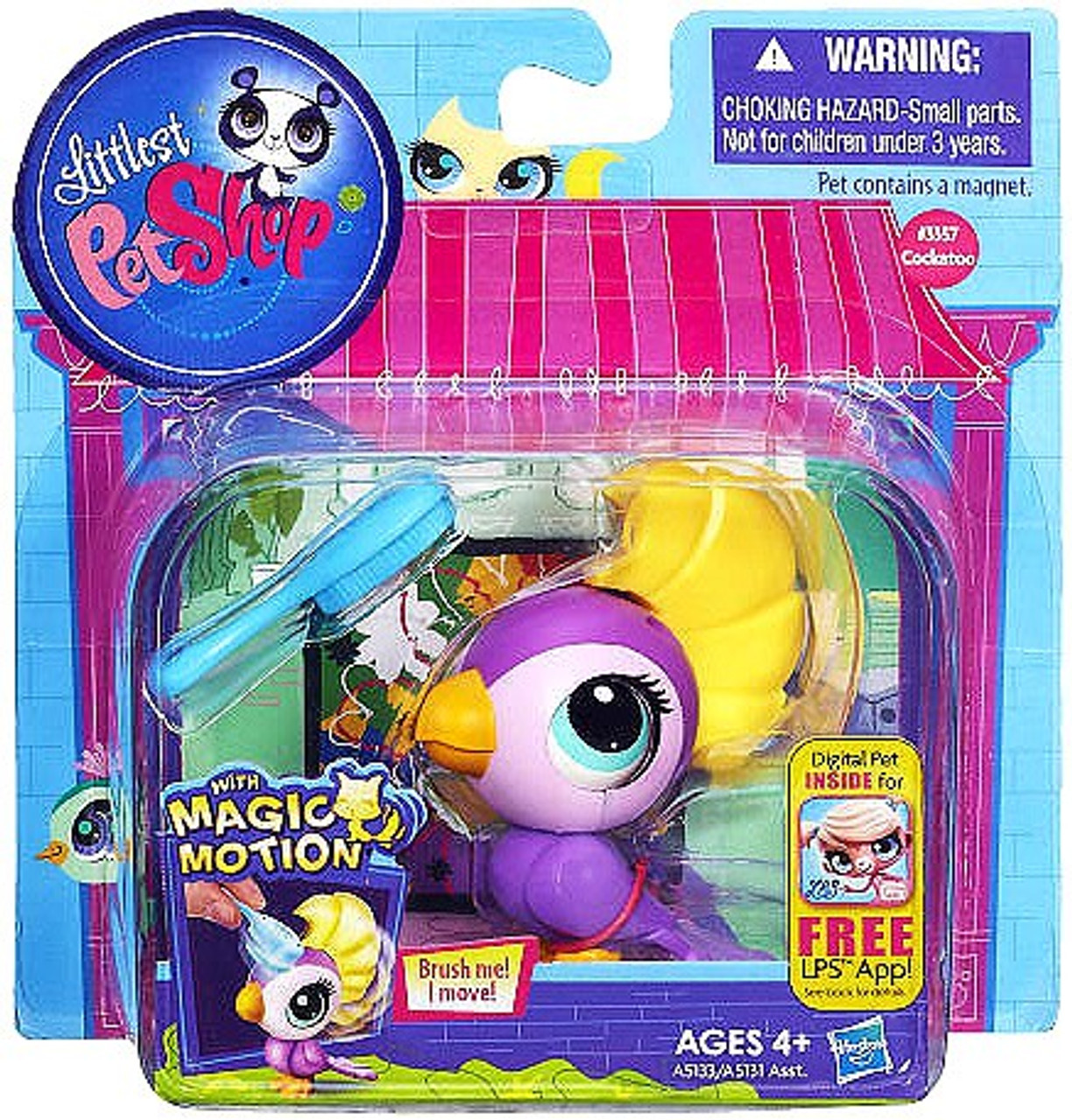 Littlest Pet Shop Magic Motion Cockatoo Bird Figure #3357