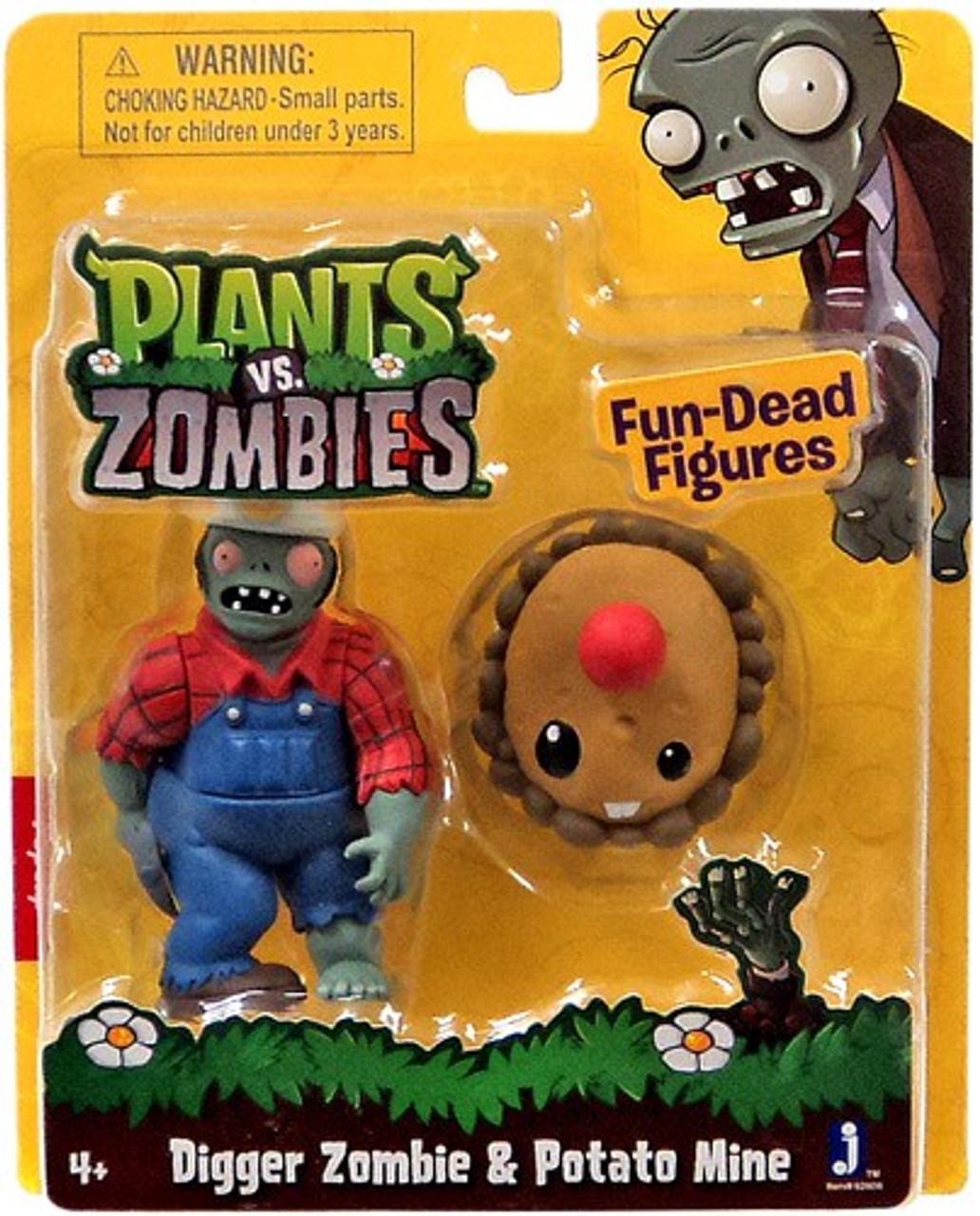 Plants vs. Zombies Fun-Dead Figures Digger Zombie & Potato Mine 3-Inch Figure 2-Pack