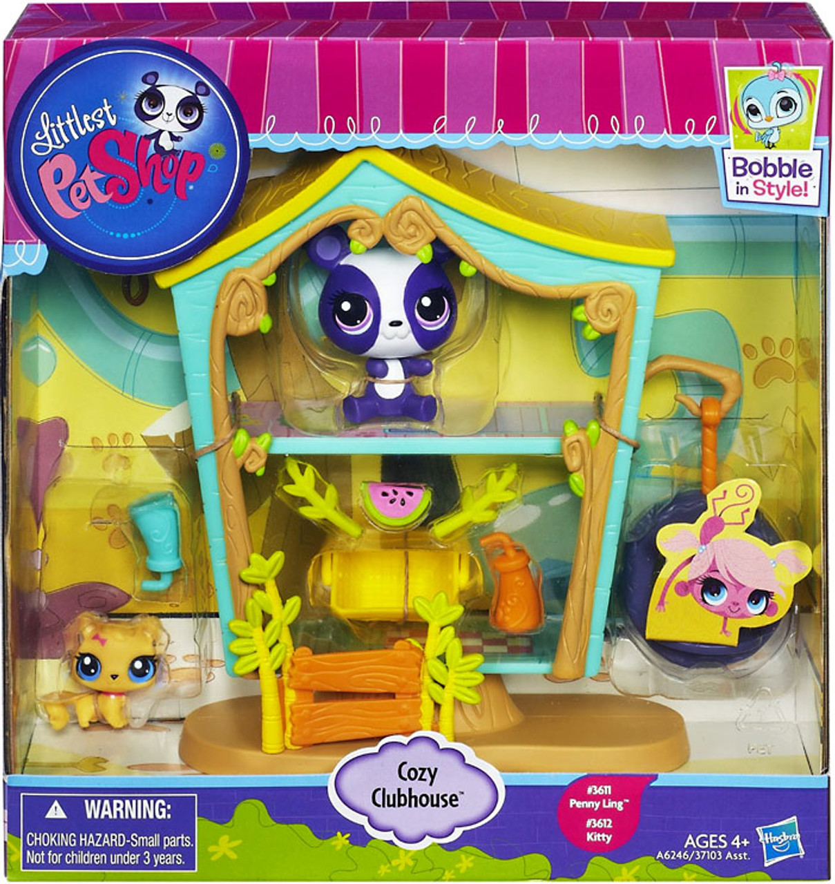 Littlest Pet Shop Bobble In Style Cozy Clubhouse Figure Set #3611, 3612
