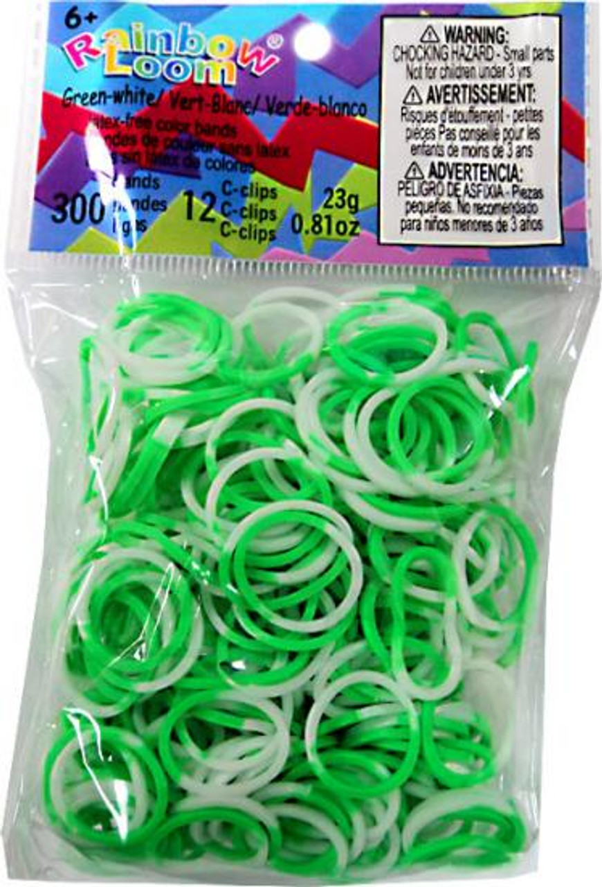 Rainbow Loom Green & White Two-Tone Rubber Bands Refill Pack [300 ct]