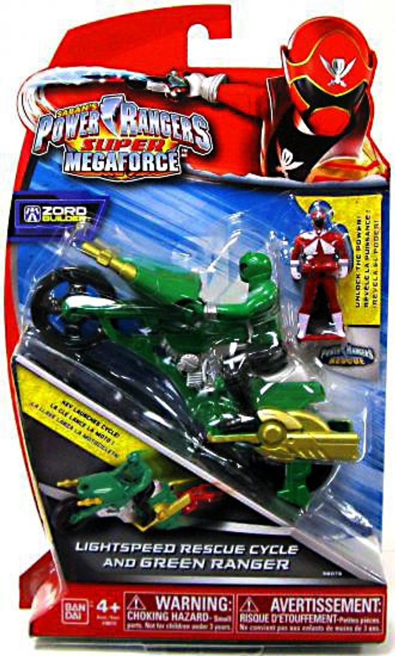 Power Rangers Super Megaforce Zord Builder Lightspeed Rescue Cycle & Green Ranger Action Figure