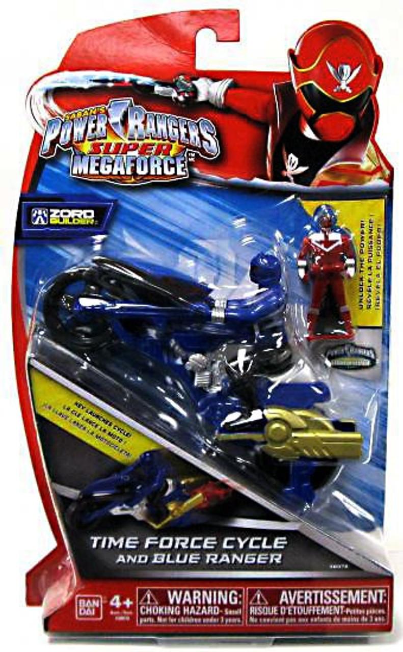 Power Rangers Super Megaforce Zord Builder Time Force Cycle & Blue Ranger Action Figure