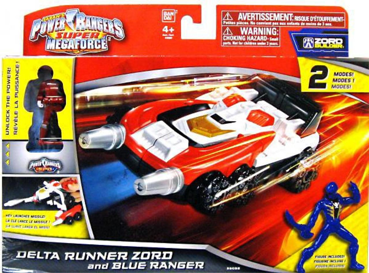 Power Rangers Super Megaforce Zord Builder Delta Runner Zord & Blue Ranger Action Figure