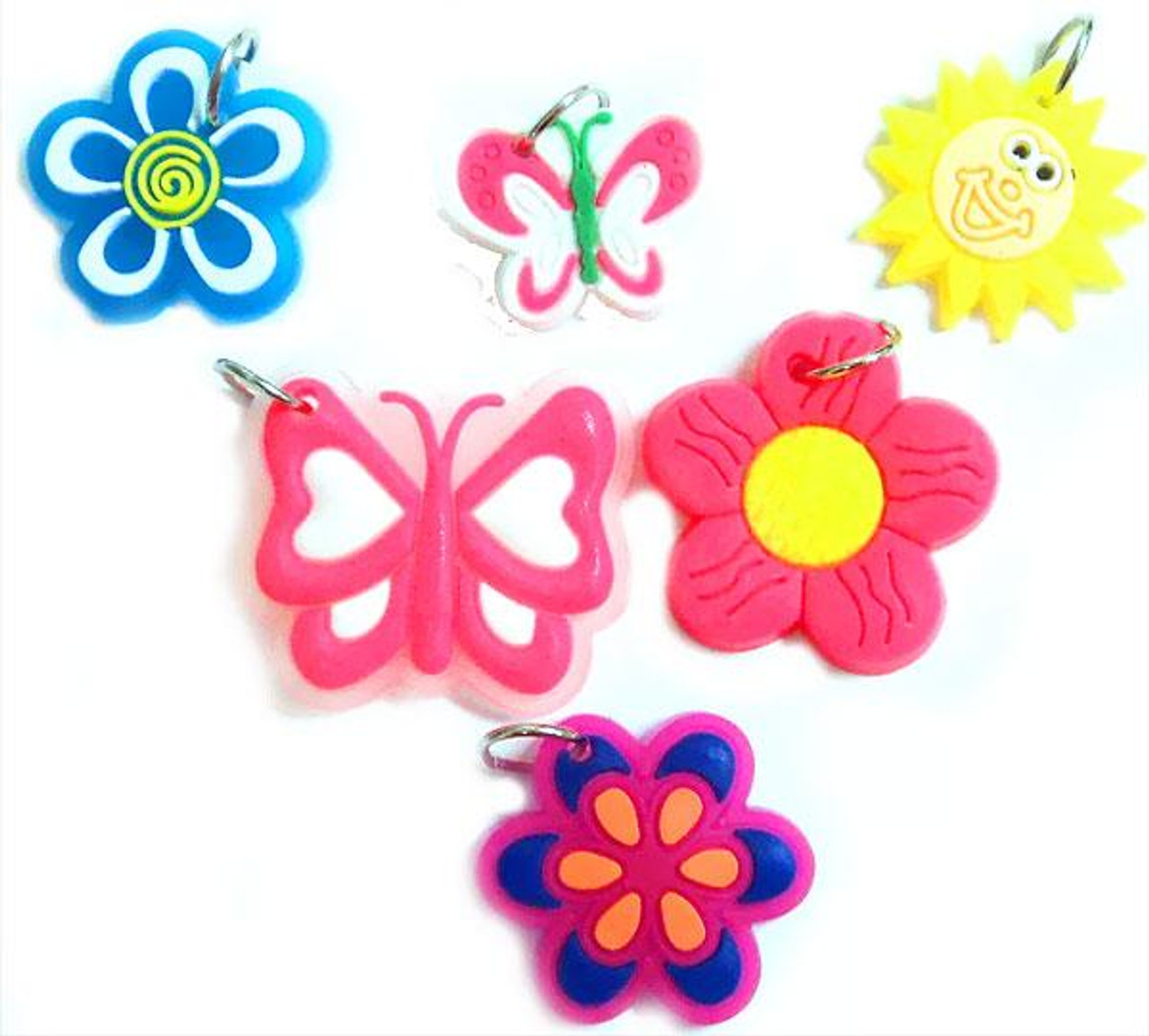 Rubber Band Bracelets Sun, Flowers & Butterfly Chams Charms [6 ct]