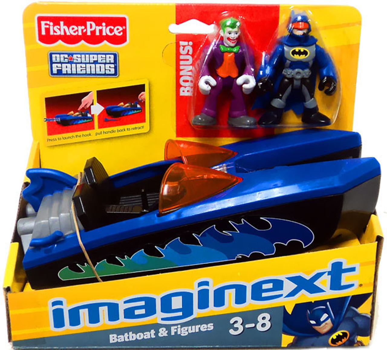 Fisher Price DC Super Friends Batman Imaginext Batboat & Bonus Joker Figure 3-Inch Figure Set
