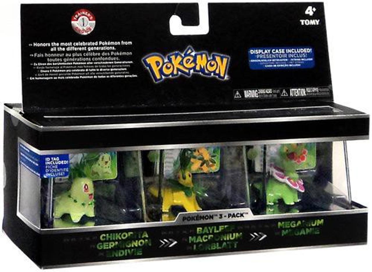Pokemon Chikorita, Bayleef & Meganium Trainer's Choice Mini Figure 3-Pack