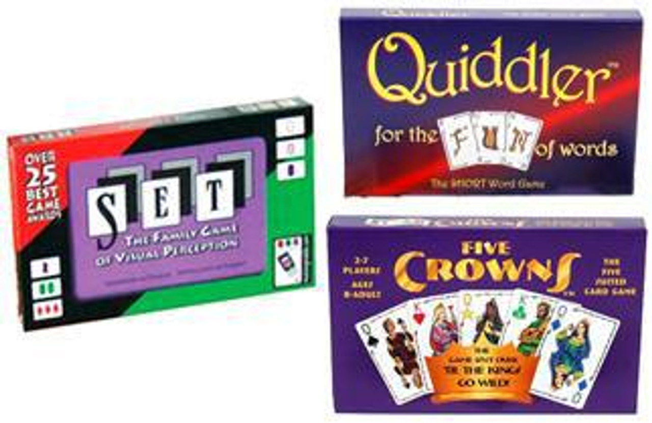 Five Crowns, Set & Quiddler Card Game 3-Pack