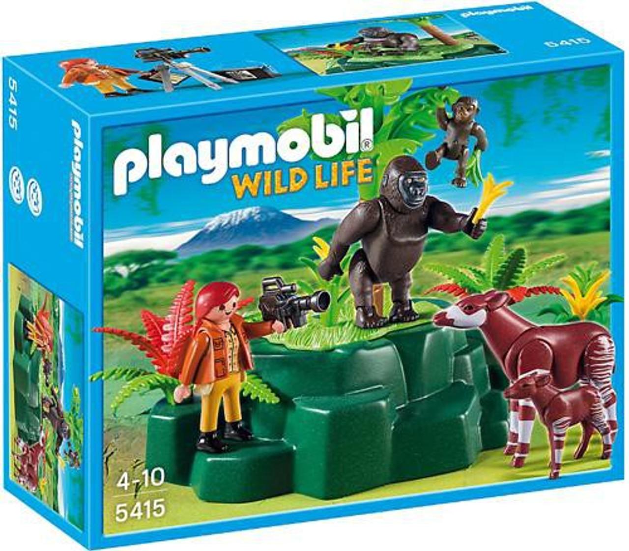 Playmobil Wild Life Gorillas & Okampis with Film Maker Set #5415