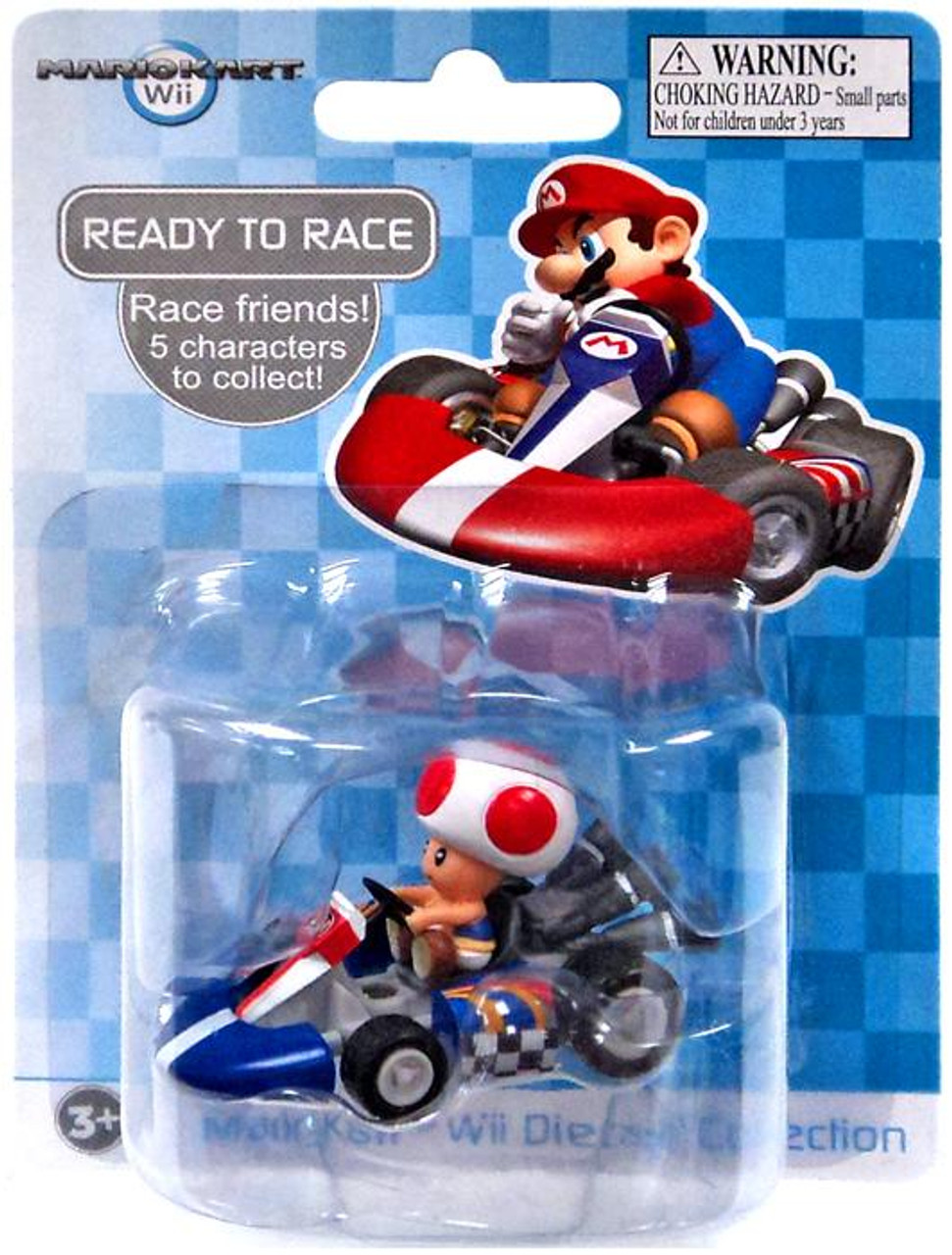 Super Mario Mario Kart Wii Diecast Collection Toad 2-Inch Diecast Vehicle