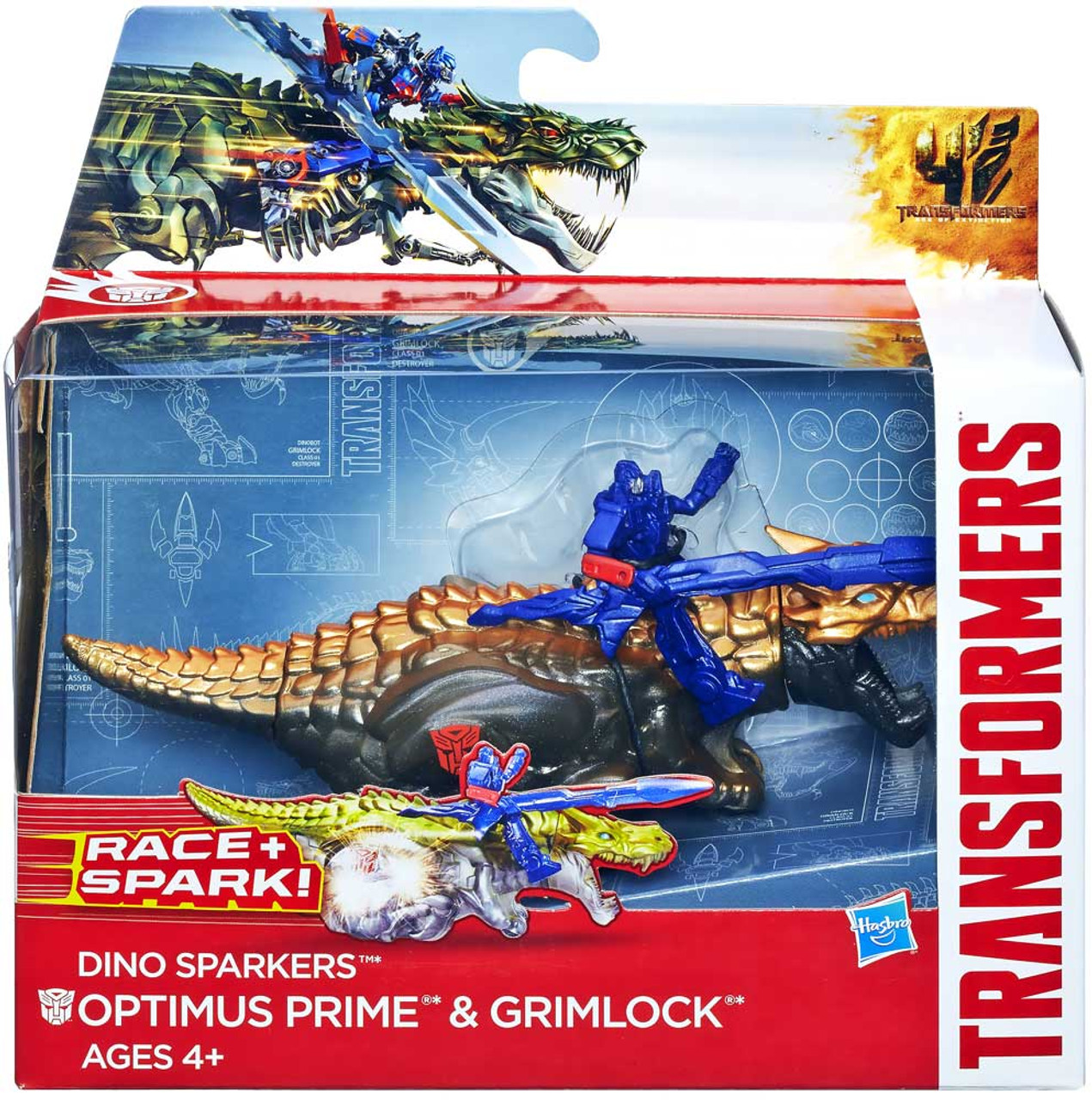 Transformers Age of Extinction Dino Sparkers Optimus Prime & Grimlock Action Figure