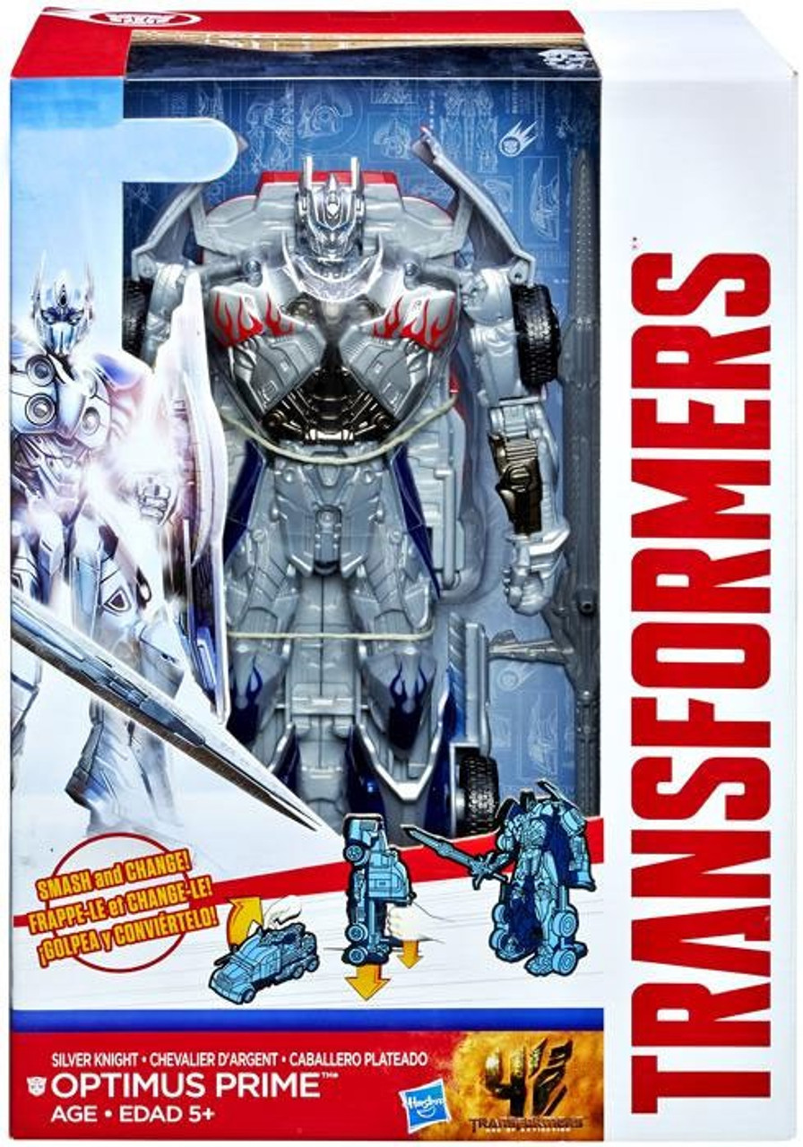 Transformers Age of Extinction Smash & Change Silver Knight Optimus Prime Exclusive Action Figure