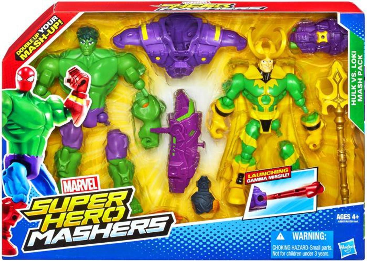 Marvel Super Hero Mashers Battle Mash Pack Hulk Vs Loki Action Figure 2-Pack