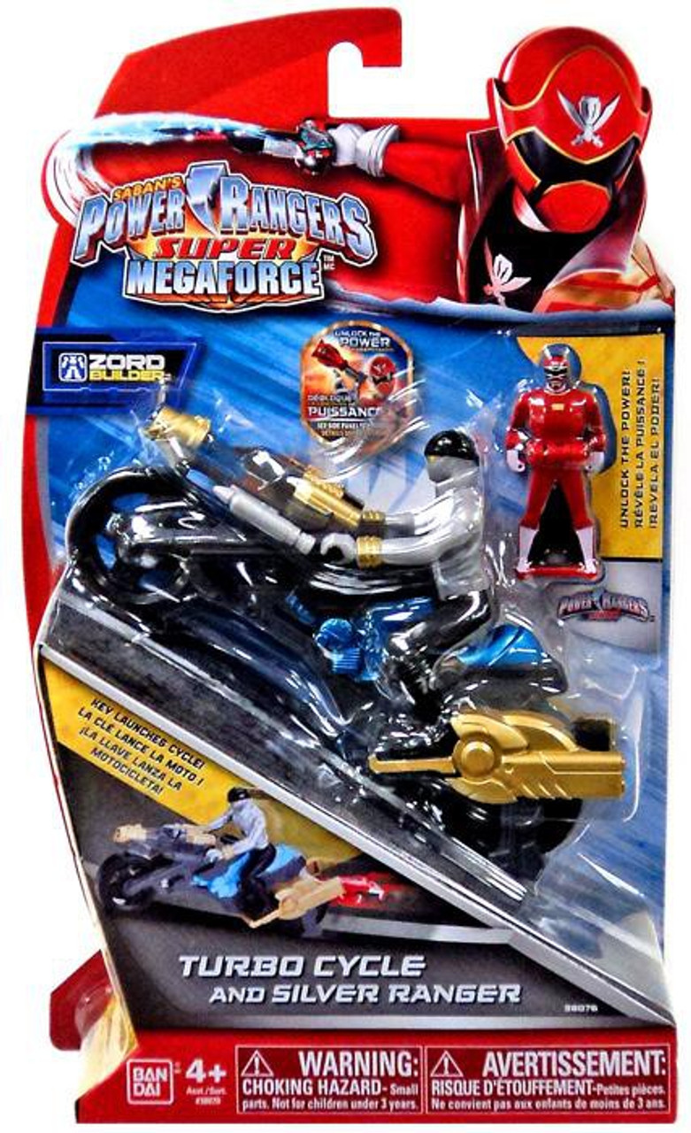 Power Rangers Super Megaforce Zord Builder Turbo Cycle & Silver Ranger Action Figure