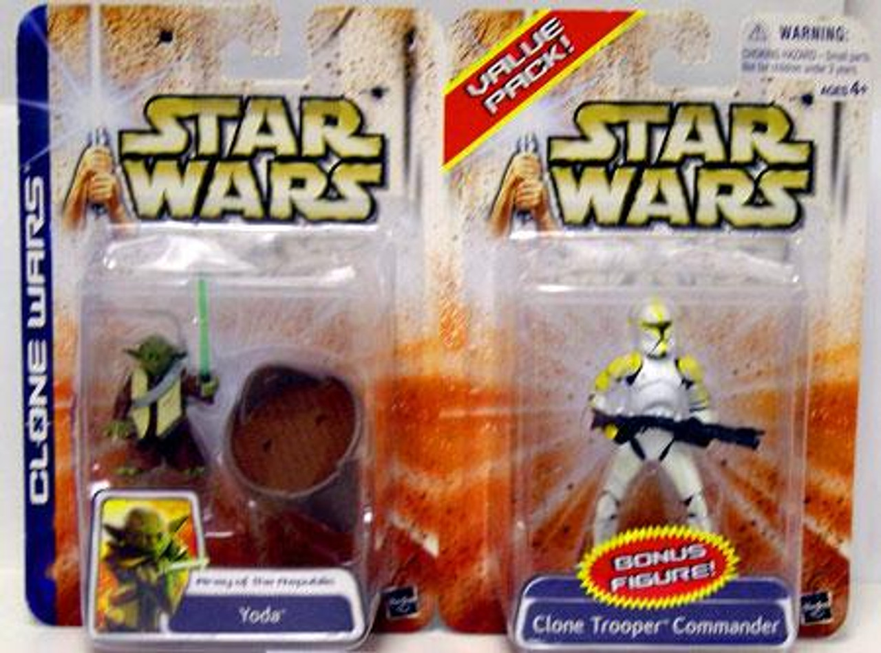 Star Wars The Clone Wars Unknown Year Yoda & Clone Trooper Action Figure 2-Pack