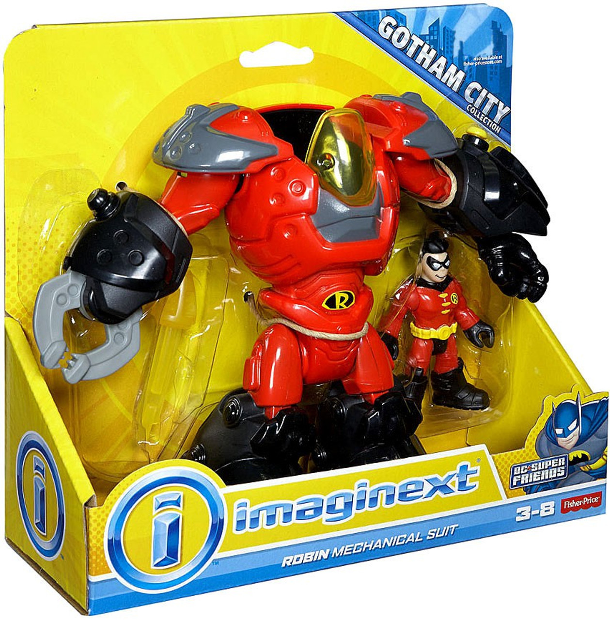 Fisher Price DC Super Friends Batman Imaginext Robin Mechanical Suit Exclusive 3 Figure Set - ToyWiz
