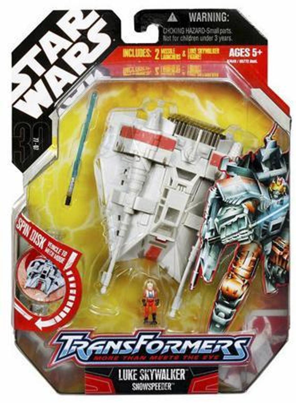 Star Wars Empire Strikes Back Transformers 2007 Luke Skywalker to Snowspeeder Action Figure