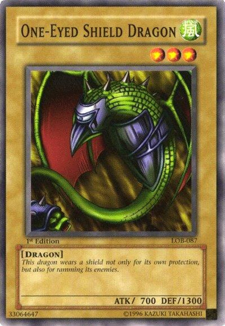 YuGiOh Legend of Blue Eyes White Dragon Common One-Eyed Shield Dragon LOB-087