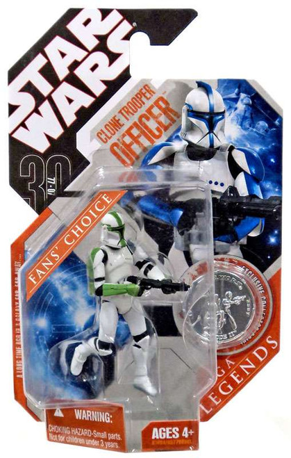 Star Wars Attack of the Clones Saga Legends 2007 30th Anniversary Clone Trooper Officer Action Figure #21 [Green Trim]