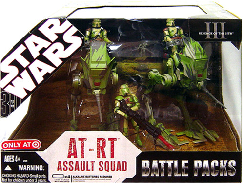 Star Wars The Clone Wars Battle Packs 2007 AT-RT Assault Squad Exclusive Action Figure Set [Kashyyyk Battle]