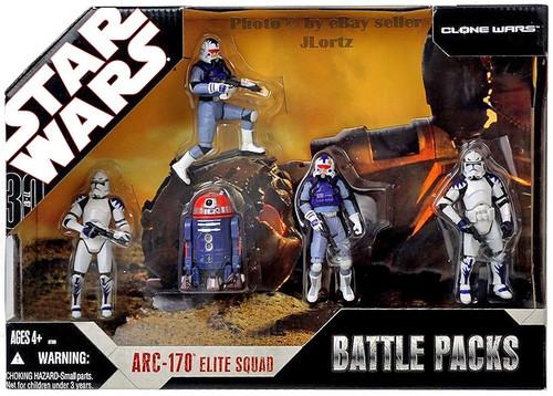 Star Wars The Clone Wars Battle Packs 2007 ARC-170 Elite Squad Exclusive Action Figure Set
