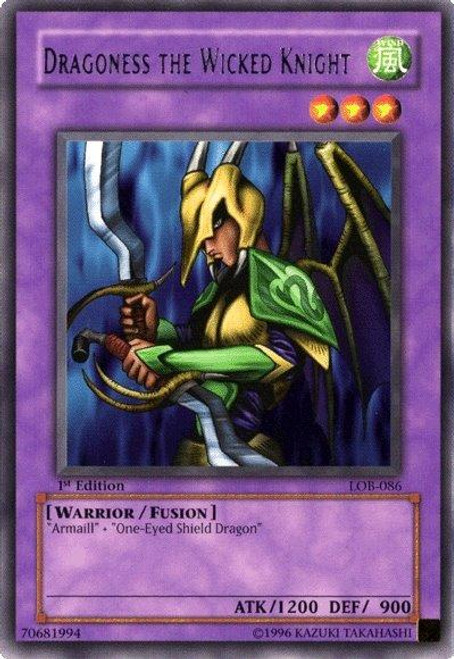 YuGiOh Legend of Blue Eyes White Dragon Rare Dragoness the Wicked Knight LOB-086