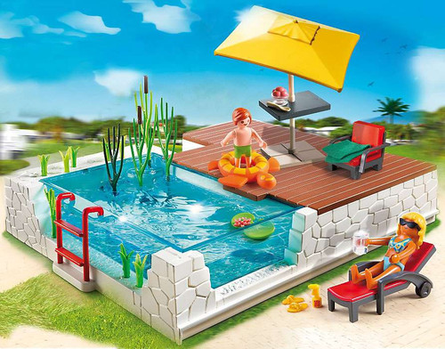 Playmobil City Life Swimming Pool With Terrace Set 5575