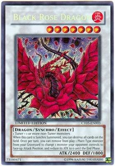 YuGiOh 5D's 2008 Holiday Tin Secret Rare Black Rose Dragon CT05-EN003