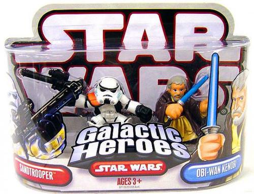 Star Wars A New Hope Galactic Heroes 2007 Sandtrooper & Obi-Wan Kenobi Mini Figure 2-Pack