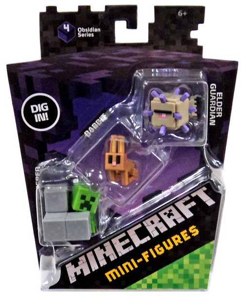 minecraft obsidian series 4 elder guardian rabbit sneaky creeper mini figure 3 pack mattel toys. Black Bedroom Furniture Sets. Home Design Ideas