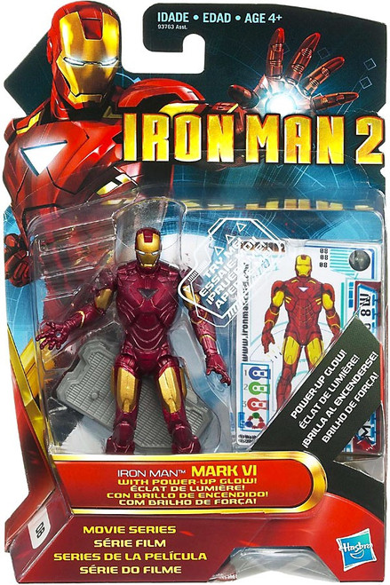 Iron Man 2 Movie Series Iron Man Mark VI With Power Up Glow Action Figure #8