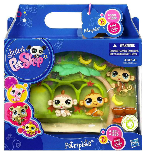Littlest Pet Shop Petriplets Monkey Figure 3-Pack