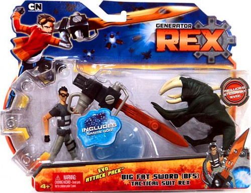 "Generator Rex Evo Attack Pack Rex Action Figure 2-Pack [Big Fat Sword ""BFS"" Tatical Suit]"
