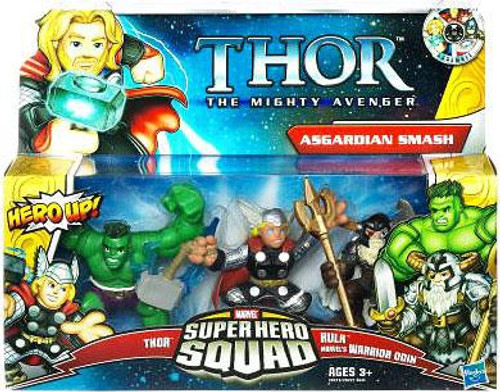 Thor The Mighty Avenger Superhero Squad Asgardian Smash Mini Figure 3-Pack