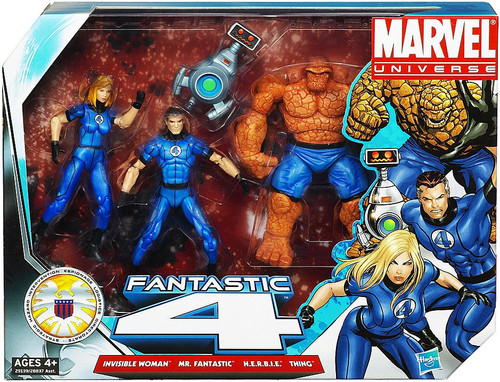 Marvel Universe Super Hero Team Packs Fantastic Four Action Figure Set [Classic Blue Costumes]