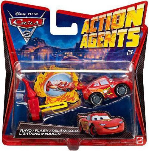 Disney Cars Cars 2 Action Agents Lightning McQueen Plastic Car