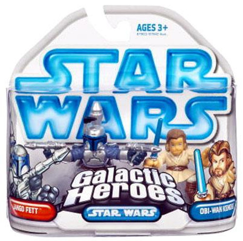 Star Wars Attack of the Clones Galactic Heroes 2008 Jango Fett & Obi-Wan Kenobi Mini Figure 2-Pack