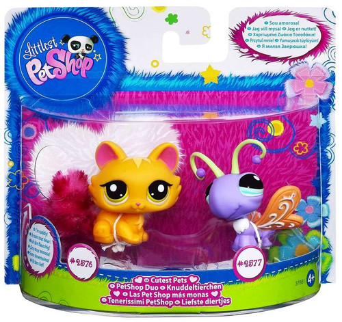 Littlest Pet Shop Cutest Pets Cat & Butterfly Figure 2-Pack #2576, 2577