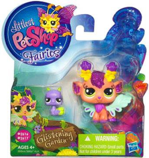 Littlest Pet Shop Fairies Glistening Garden Honeysuckle Fairy & Snail Figure 2-Pack #2616, 2617