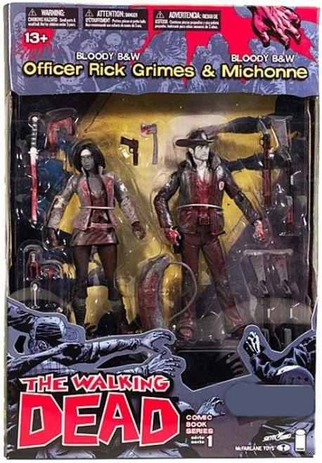 McFarlane Toys Walking Dead Comic Series 1 Bloody Black & White Rick Grimes & Michonne Exclusive Action Figure 2-Pack
